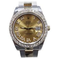 Rolex Datejust II 116333 Diamond Dial Diamond Bezel 18 Karat Gold and Steel