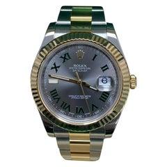 Rolex Datejust II 116333 Slate Dial 18 Karat Gold Stainless Box Paper, 2016