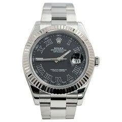 Rolex Datejust II 116334 Black Roman Dial Stainless Steel