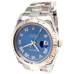 Rolex Datejust II 116334 Steel White Gold Blue Dial Oyster Perpetual Watch