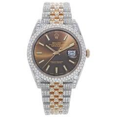 Rolex Datejust II 126331 Custom Diamond 18 Carat Brown Sticks Dial Men's Watch