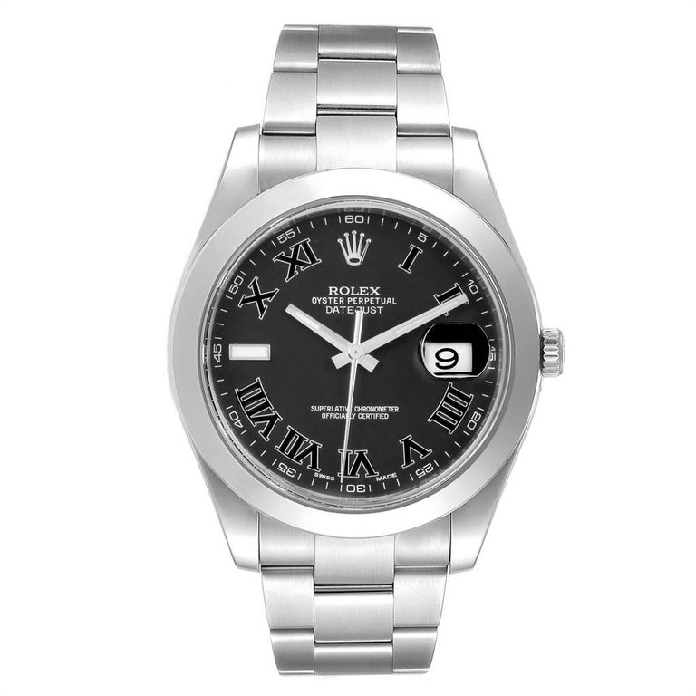 Rolex Datejust II 41mm Grey Dial Oyster Bracelet Steel Mens Watch 116300. Officially certified chronometer self-winding movement. Stainless steel case 41 mm in diameter. Rolex logo on a crown. Stainless steel smooth bezel. Scratch resistant sapphire