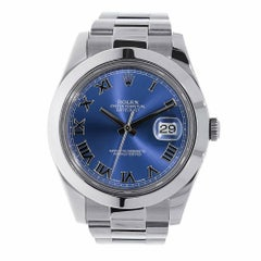 Rolex Datejust II Stainless Steel Blue Roman Dial Watch 116300