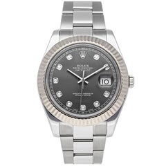 Rolex Datejust II Auto Steel Gold Diamond Mens Oyster Bracelet Watch 116334