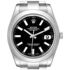 Rolex Datejust II Black Dial Oyster Bracelet Steel Men's Watch 116300 Box