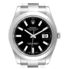 Rolex Datejust II Black Dial Oyster Bracelet Steel Men's Watch 116300