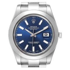 Rolex Datejust II Blue Baton Dial Steel Men's Watch 116300 Box