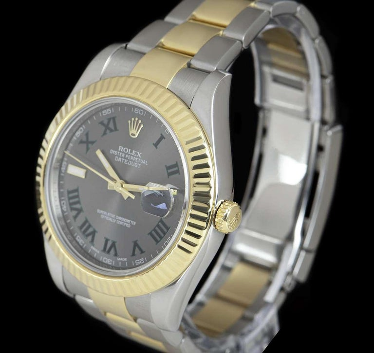 A 41 mm Stainless Steel & 18k Yellow Gold Oyster Perpetual Datejust II Gents Wristwatch, wimbledon dial with applied roman numerals and an applied hour marker at 9 0'clock, date at 3 0'clock, a fixed 18k yellow gold fluted bezel, a stainless steel