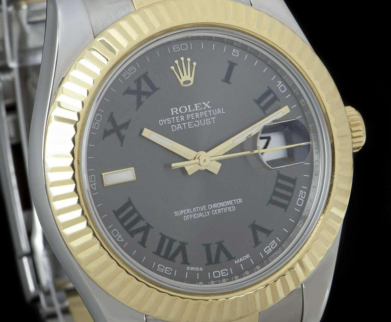 Rolex Datejust II Gents Stainless Steel and 18 Karat Gold Wimbledon Dial 116333 In Excellent Condition For Sale In London, GB