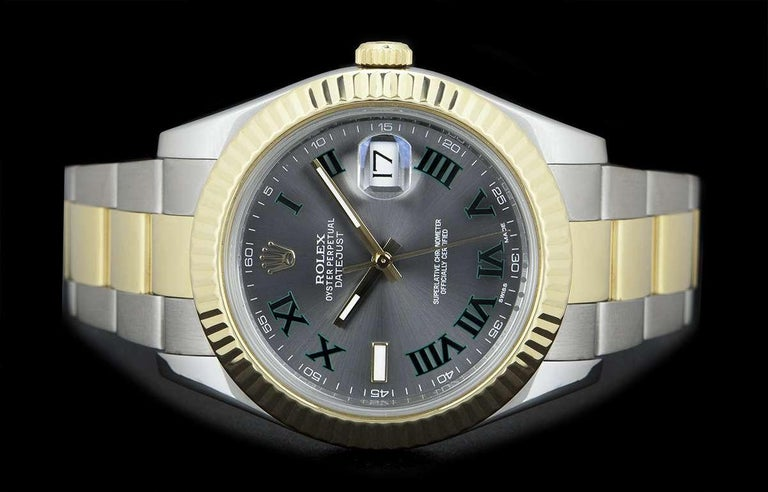 Men's Rolex Datejust II Gents Stainless Steel and 18 Karat Gold Wimbledon Dial 116333 For Sale
