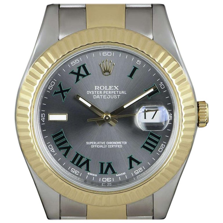 Rolex Datejust II Gents Stainless Steel and 18 Karat Gold Wimbledon Dial 116333 For Sale