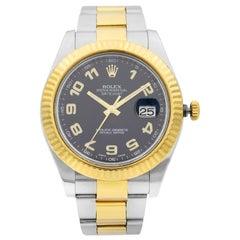 Rolex Datejust II Gold Steel Black Arabic Dial Men's Watch 116333BKAO