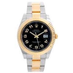 Rolex Datejust II Men's 2-Tone Watch 116333 Black Arabic Dial