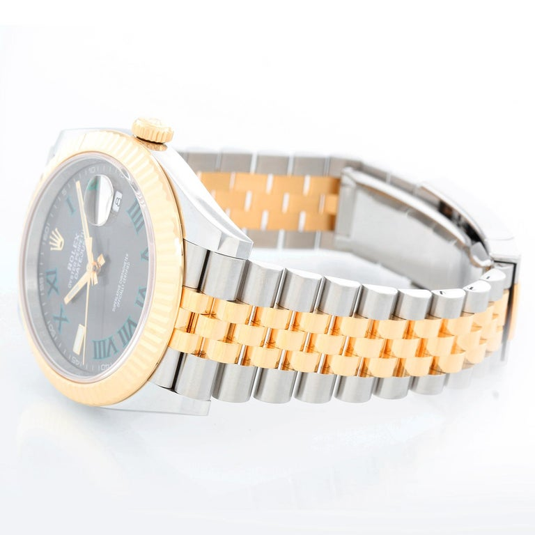 Rolex Datejust II  Men's 2-Tone Steel & Gold 41mm Watch 126333 - Automatic winding, Quickset, sapphire crystal. Stainless steel case with 18k yellow gold fluted bezel  (41mm diameter). Grey dial with green Roman  numerals; Wimbledon dial. Stainless