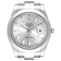 Rolex Datejust II Silver Baton Dial Steel Men's Watch 116300 Box
