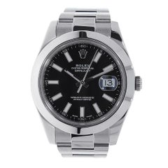 """Rolex Datejust II Stainless Steel Black Index Dial Watch 116300"""