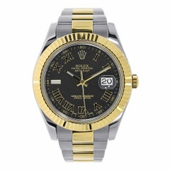 Rolex Datejust II Stainless Steel and Yellow Gold Black Roman Dial Watch 116333