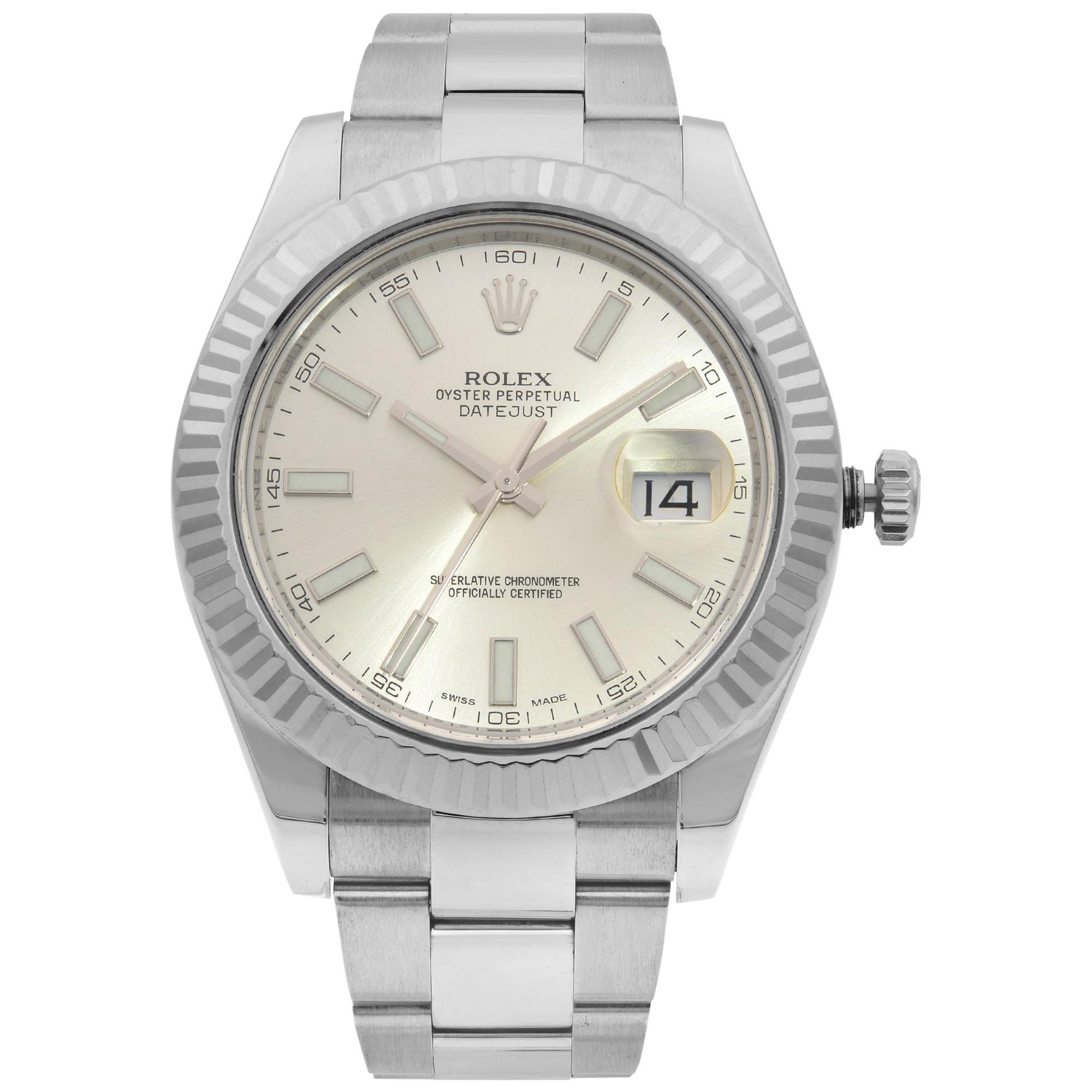 Rolex Datejust II Steel 18 Karat Gold Silver Dial Automatic Men's Watch 116334