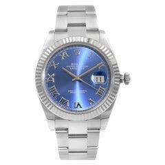 Rolex Datejust II Steel 18k White Gold Blue Dial Automatic Men's Watch 116334