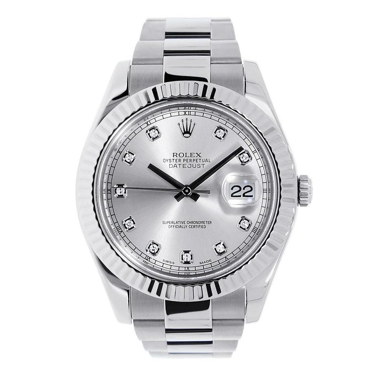 ebd77a5cab7 Rolex Datejust II Steel and 18 Karat White Gold Rhodium Diamond Dial 116334  For Sale