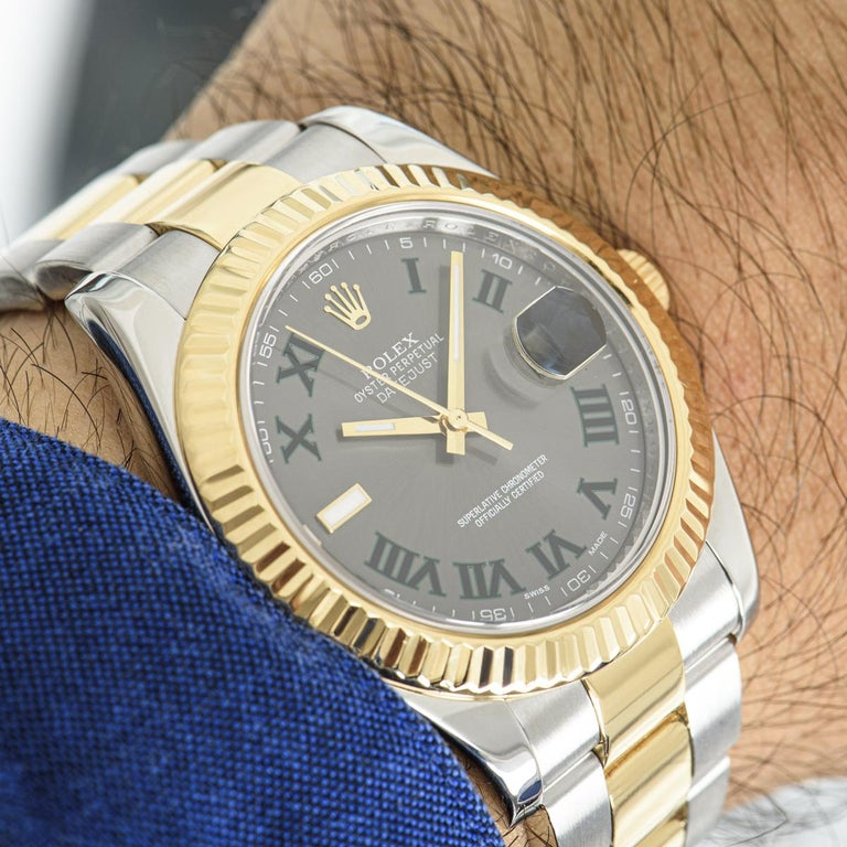 Rolex Datejust II Steel and Gold Wimbledon Dial 116333 Watch In Excellent Condition In London, GB