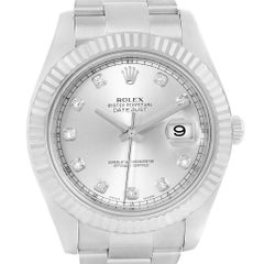Rolex Datejust II Steel White Gold Diamond Dial Watch 116334 Box Papers
