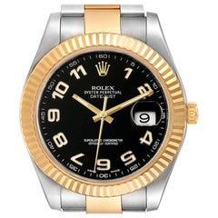 Rolex Datejust II Steel Yellow Gold Black Dial Men's Watch 116333