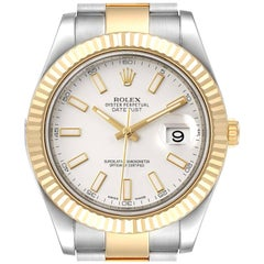 Rolex Datejust II Steel Yellow Gold Silver Dial Men's Watch 116333