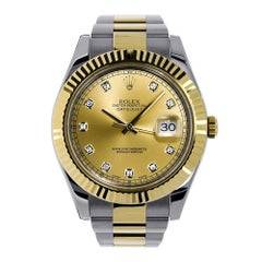 Rolex Datejust II Yellow Gold Champagne Diamond Dial Watch 116333