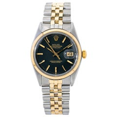 Rolex Datejust Jubilee 1600 Automatic 2-Tone 18k Yellow Gold Black Dial