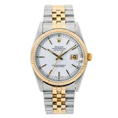 Rolex Datejust Jubilee 16233 2-Tone 18K Yellow Gold White Dial
