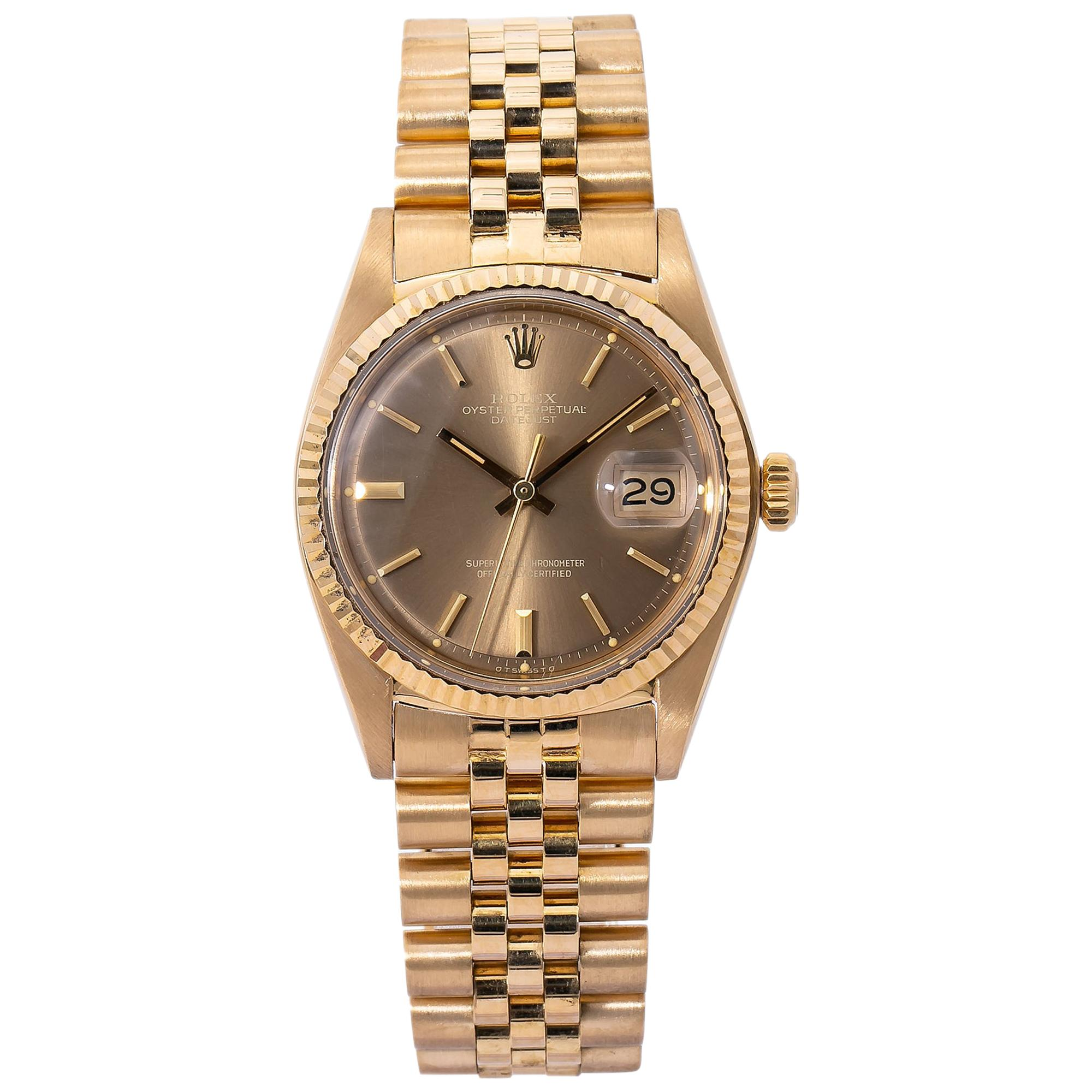 Rolex Datejust Jubiless 1601 Vintage 18k Yellow Gold Champagne Dial Men's