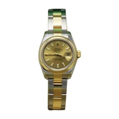 Rolex Datejust Ladies 179163 Champagne Dial 18 Karat Gold and Steel Box Booklets