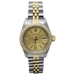 Rolex Datejust Ladies 69163 Champagne Dial Diamond Bezel Rolex Service Box Paper