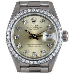 Rolex Datejust Ladies Platinum Silver Dial Diamond Set 69136