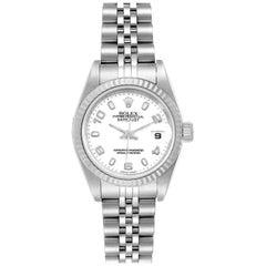 Rolex Datejust Ladies Steel 18 Karat White Gold Watch 79174 Box Paper
