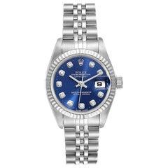 Rolex Datejust Ladies Steel White Gold Blue Diamond Dial Ladies Watch 69174