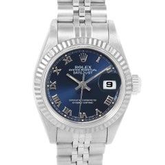 Rolex Datejust Ladies Steel White Gold Blue Roman Dial Watch 69174