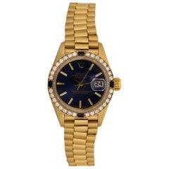 Rolex Datejust Ladies Yellow Gold Blue Dial Diamond and Sapphire Bezel 69088