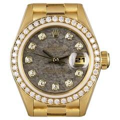 Rolex Datejust Ladies Yellow Gold Rare Ammonite Dial Diamond Set B&P 69138