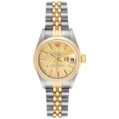 Rolex Datejust Linen Dial Steel Yellow Gold Ladies Watch 69173