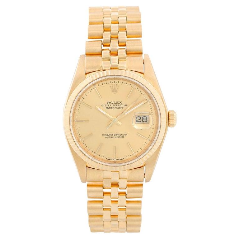 Rolex Datejust Men's 18 Karat Watch 16018 For Sale