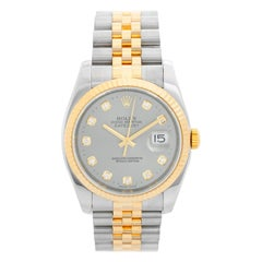 Rolex Datejust Men's 2-Tone Factory Diamond Dial Watch 116233