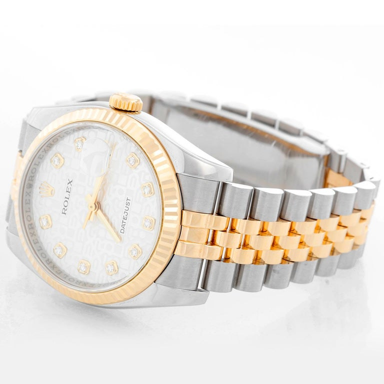Rolex Datejust Men's 2-Tone Steel and Gold Watch Jubilee Diamond Dial 116233 For Sale 1
