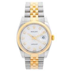 Rolex Datejust Men's 2-Tone Steel and Gold Watch Jubilee Diamond Dial 116233
