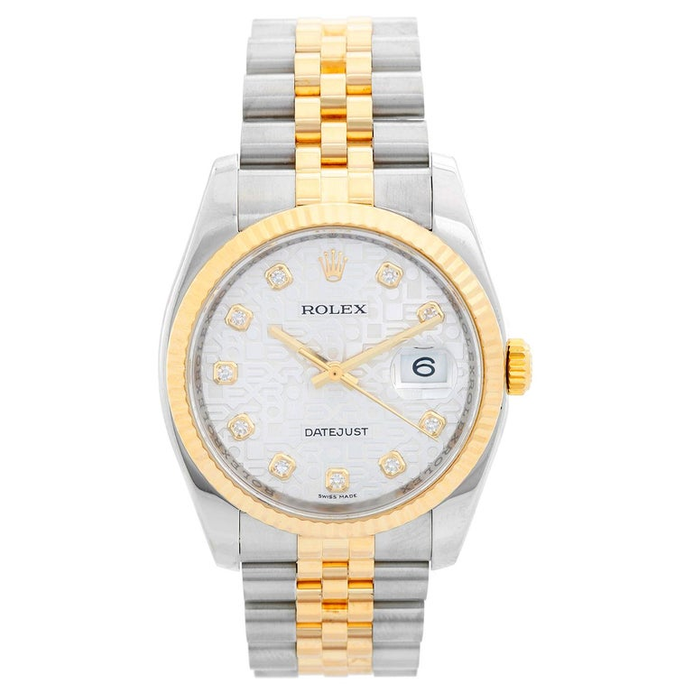 Rolex Datejust Men's 2-Tone Steel and Gold Watch Jubilee Diamond Dial 116233 For Sale