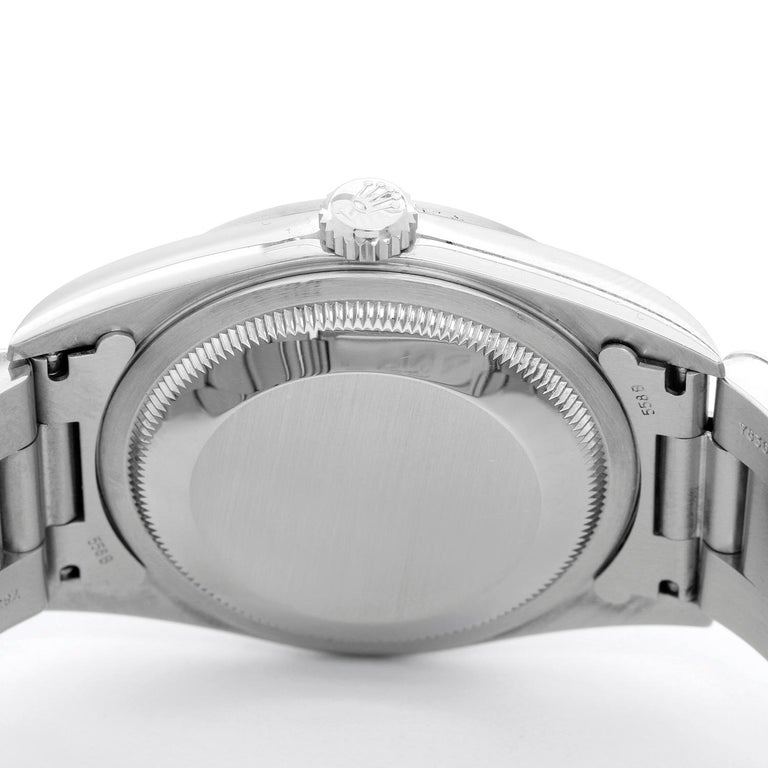 Rolex Datejust Men's Stainless Steel Automatic Winding Watch 16200 - Automatic winding, Quickset, sapphire crystal. Stainless steel case with smooth bezel (36mm diameter). Mother of Pearl Roman numeral dial. Stainless steel Oyster bracelet.