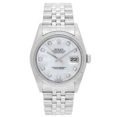 Rolex Stainless Steel Mother-of-Pearl Datejust Automatic Wristwatch Ref 16234
