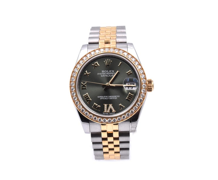 "Rolex Datejust Mid-Size 31 Two-Tone Factory Green Diamond ""6"" Dial with Factory  In Excellent Condition In Scottsdale, AZ"