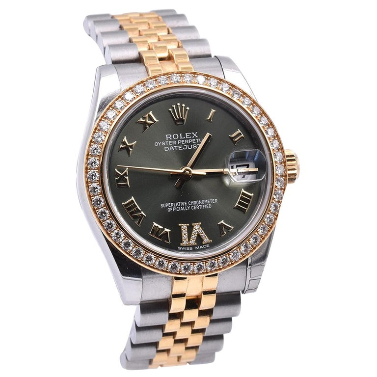 "Rolex Datejust Mid-Size 31 Two-Tone Factory Green Diamond ""6"" Dial with Factory"